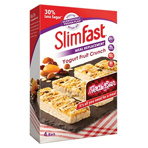 SlimFast High Protein Meal Replacement Bar, Yogurt Fruit Crunch Flavour, 16 Servings, Pack of 4 Boxes