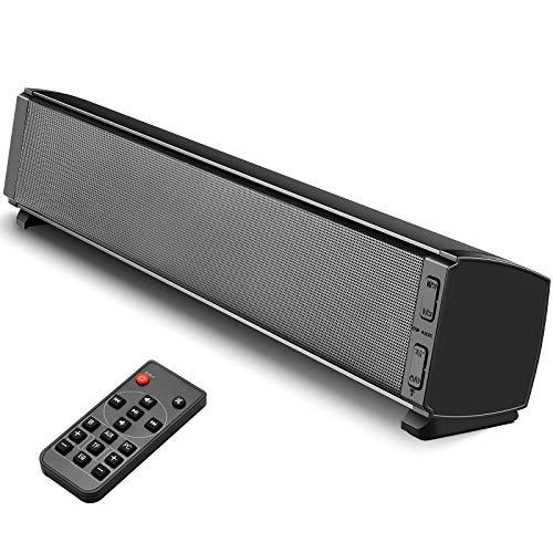 Barra de Sonido, Tensphy Barra de Sonido TV 2.0 Canales 120dB Bluetooth 5.0 Tecnología DSP Subwoofer Incorporado 3,5 mm Audio AUX, USB, para TV Smartphones Ordenador Fiesta de Cine en casa