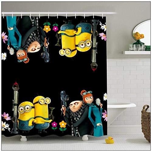 None brand wasserdichte BadvorhäNge Aus Polyestergewebe 3D-Druck Cartoon Minions DuschvorhäNge Mit Haken Benutzerdefinierter Badschirm FüR Kinder-B180xh200cm