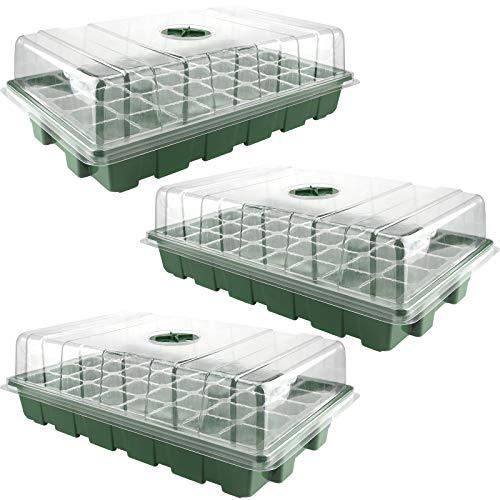 Wyi Juego de 3 bandejas de semillero de 40 celdas con agujeros de drenaje de plástico para semillas con cúpula de humedad y kit de iniciación de plantas para semillas, invernadero