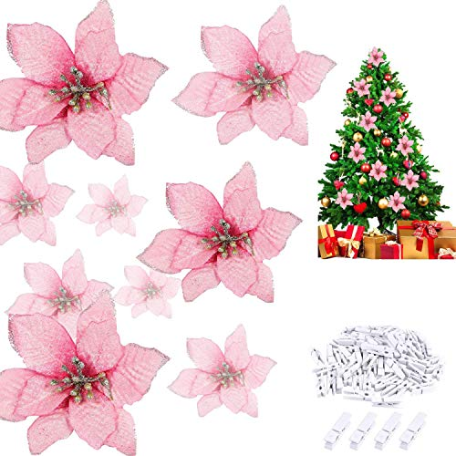 Worldoor 24 Pcs Pink Poinsettia Artificial Christmas Flowers with 24 Pack Clips, Glitter Christmas Tree Ornaments Xmas Wedding Party Decor (13 x 13 cm) (Pink)
