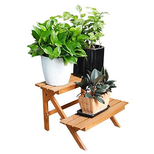 Worth Garden Soporte Plantas de Madera para Macetas, Forma Escalera con 2 Estanterias, 60 * 42 * 40cm, Decoracion para Balcon Jardin Exterior e Interior con Plantas Flores Naturales.