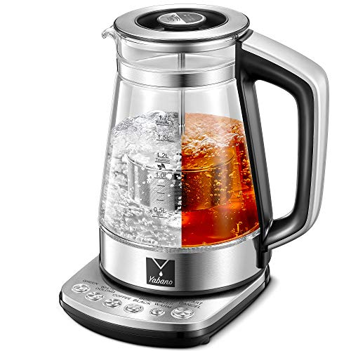 Electric Glass Kettle, 1.7L Smart Tea Maker with Temperature Control, Keep Warm Function, Auto Shut-off, Water Boiler with Removable Tea Infuser, Boil Dry Protection, BPA Free, 1500W Fast Boiling