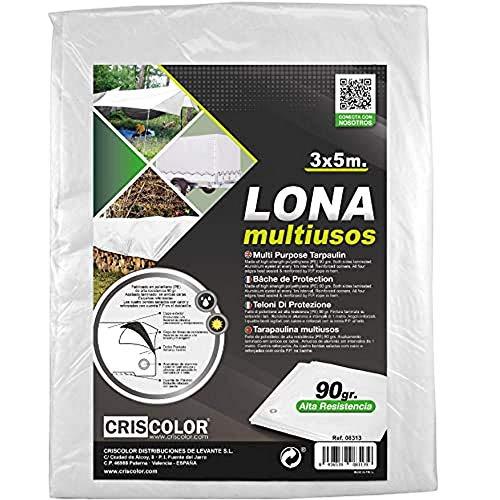 Criscolor Lona Multiuso 3 x 5 m Blanca,