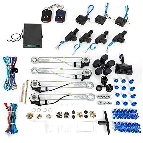 BTDH Electric 4 Power Window Motor Conversion Kit Roll Up 4 Door Lock Cars Low Power Lock Switches Conversion Kits Car Truck For SUV Car