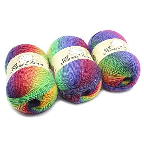 Soft Worsted Yarn Rainbow Gradient Colors DIY Baby Knitting Wool Shawl Scarf Crochet Thread Supplies
