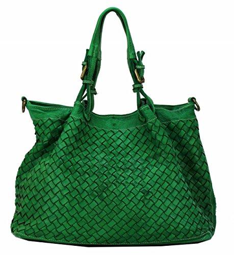 BZNA Bag Rene Grün green Italy Designer Damen Handtasche Schultertasche Tasche Schafsleder Shopper Neu