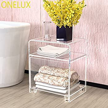 Clear Acrylic nightstand with a Storage Basket,Lucite Bathroom Tables