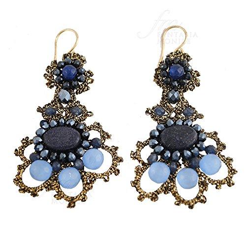 Haute Couture - Pendientes de encaje con piedras naturales y ojo de gato, hechos a mano, diseño Monile 0W1MVFM