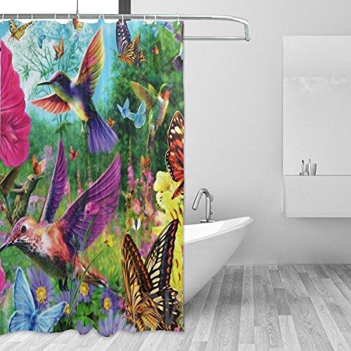 jstel Kolibri Blumen Duschvorhang Polyester-Mehltau resistent & wasserfest-182,9x 182,9cm für Home Extra Lang Badezimmer Deko Dusche Bad Gardinen Liner mit 12Haken