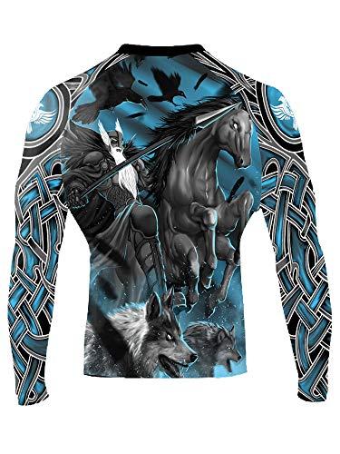 Raven Fightwear Men's Odin Nordic Rash Guard MMA BJJ Black Medium