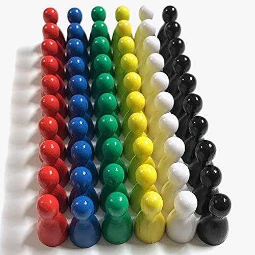 Spieltz - Pezzi Colorati per Giochi da Tavolo in Legno, 60 Pezzi Pedine (6 x 10) (Colori di Base)