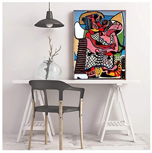 DrCor Der Kuss von Picasso Leinwand Malerei Poster Wandkunst Drucke für Zuhause Wanddekoration Gemälde Wanddekoration Bilder -50x70 cm Kein Rahmen