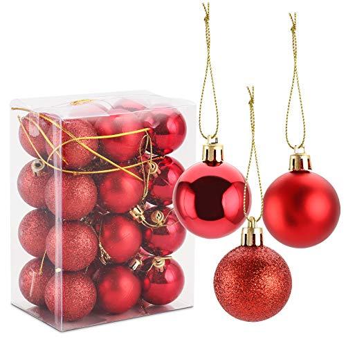 Gobesty Weihnachtskugeln Ornamente, 24 Stücke Weihnachtsbaum Bälle Dekorationen Kugeln Weihnachtsdeko mit Metallhaken Anhänger für Weihnachten Hochzeitsfest Dekoration, Rot 4cm