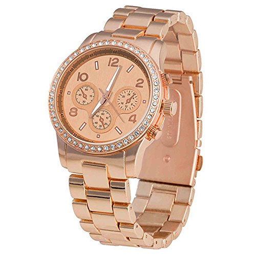 Taffstyle Damen-Armbanduhr Analog Quarz mit Metall-Armband Chronograph Optik Strass Kristall Uhr Rosegold Rose Gold