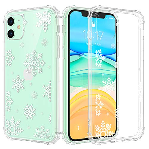 Caka iPhone 11 Christmas Case, iPhone 11 Clear Case with Christmas Design for Girls Women Girly Slim Soft Premium TPU Transparent Protective Case for iPhone 11 (Snow)