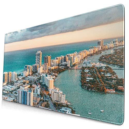Alfombrilla de ratón decorativa grande para juegos,Vista en helicóptero de South Beach Miami,alfombrilla larga para ratón de computadora con base de goma antideslizante para oficina/juegos/hogar