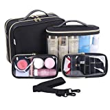 LEEFE Travel Makeup Bag, 2-Layers Cosmetic Bag Makeup Case, 3 in 1 Clear Toiletry Bags for Accessories, Shampoo, Cosmetics and Tools, Toiletries