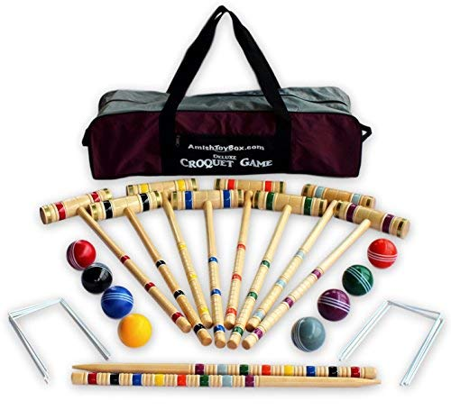AmishToyBox.com 8-Player Deluxe Croquet Game Set with Duffel Carry Bag (32' Handle Length)