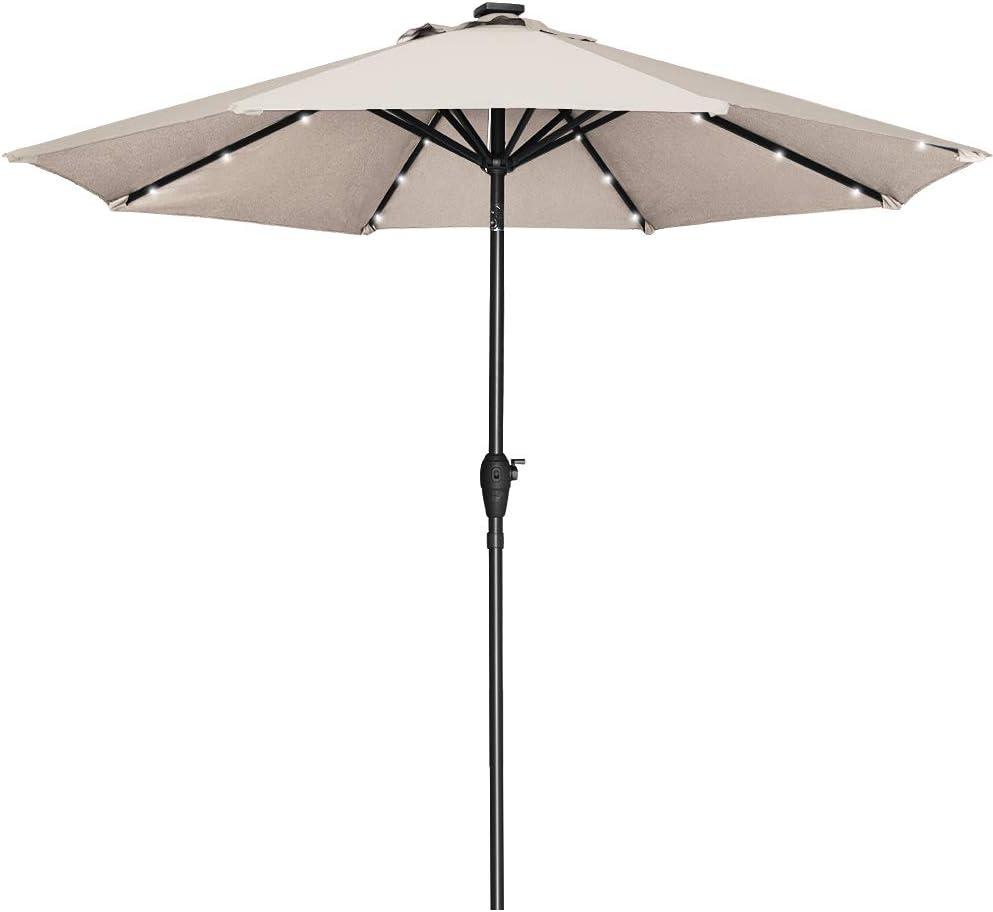 Popular product Mefo garden 9ft Solar Umbrellas specialty shop with Mark 24 lights Aluminum LED