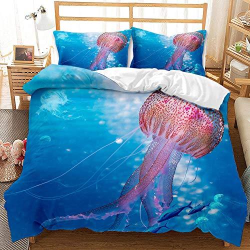 Bedclothes-Blanket Juego de sabanas Infantiles Cama 90,Conjunto de Tres Conjuntos de Ropa de Cama Digital 3D de lecho bajo el Agua Whale Whale Shark-5_260 * 230cm