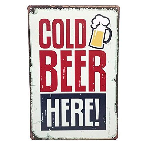 Ducomi® Hangover Collection–Cartel Metálico Decoración de Pared con Diseño Vintage de Cerveza, Vino, Alcohólicas y Bebidas - Placa Decoración Pared de Chapa–30x 20cm (Cold Beer)