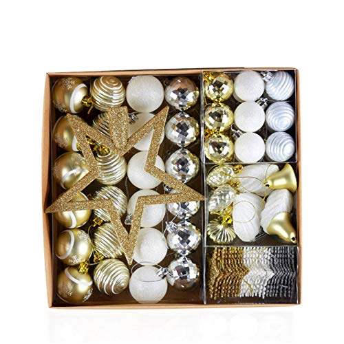 Guanxue Christmas Ball Decorations Beautiful Yellow Christmas Tree Pendant Gift Pack Christmas Decoration Pendant Christmas Balls 80 for Christmas Tree (Color : Yellow, Size : One size)