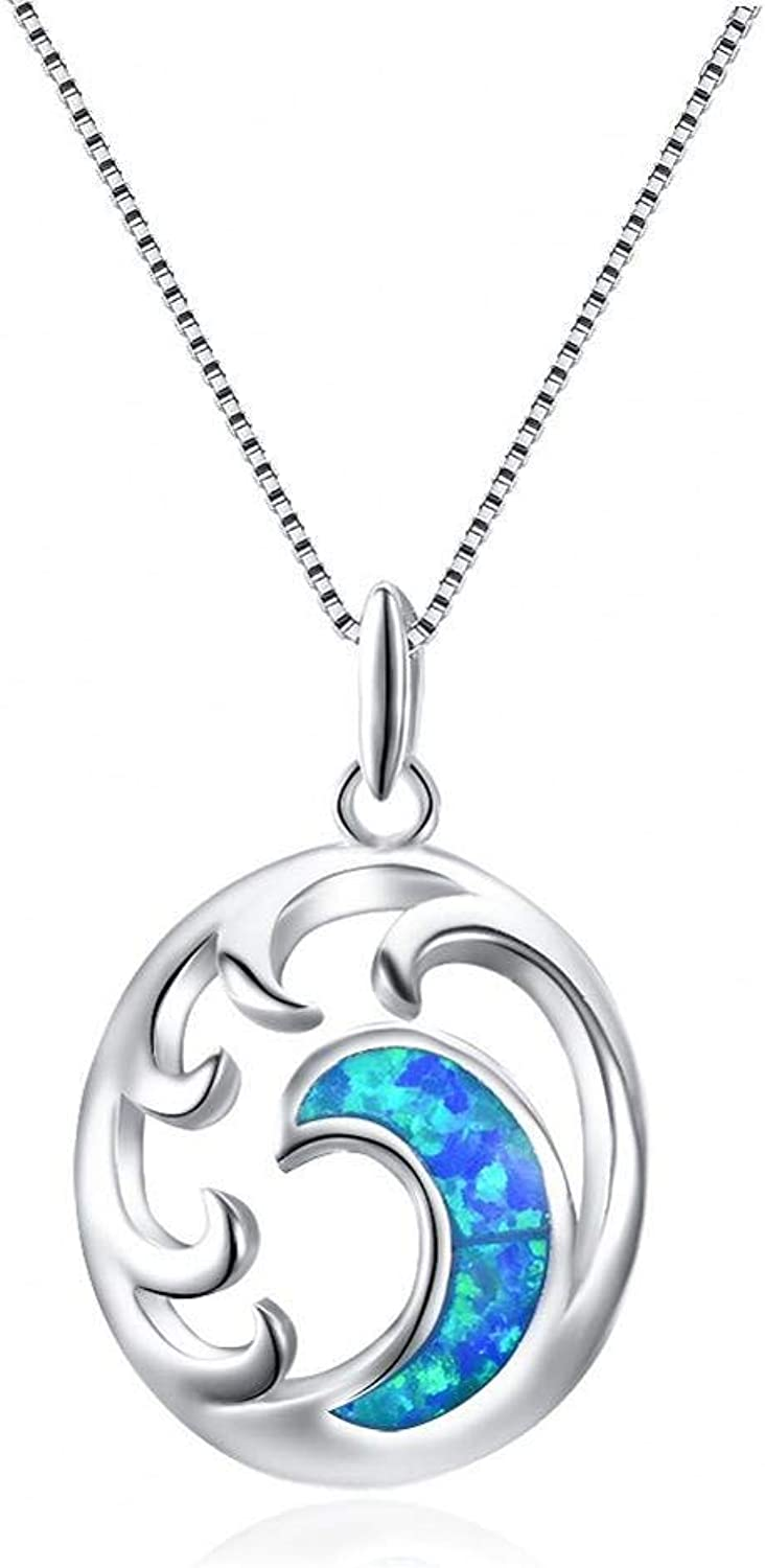 QMM necklace Pendant 925 Sterling Silver Moon Pendant Necklaces for Women Ocean Wave White blueee Fire Clavicle Necklace Female Jewelry