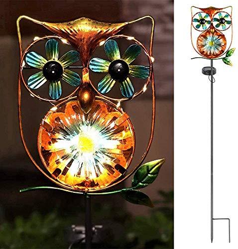 LeiDrail Solar Windrad Garten Metall Muttertag LED Eule Gartenleuchte Dekoration Warmes Licht Gartenleuchten Eulen Lichter für Außen Rasen Gehweg wasserdichte