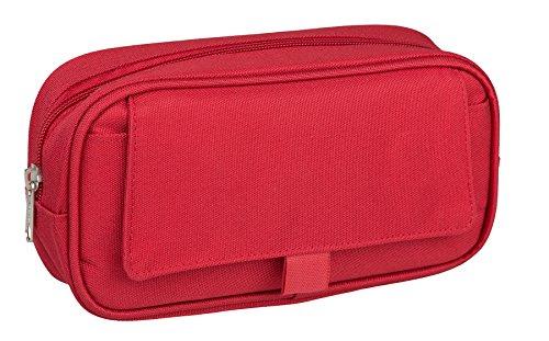 Idena 21420 - Faulenzer-Etui mit Klappe und einem Fach, 23,5 x 12,5 x 5,5 cm, rot, 1 Stück