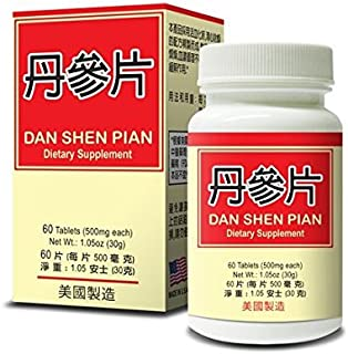 Dan Shen Pian Herbal Supplement Helps Cardiovascular and Circulatory System 60 Tablets 500mg/each Made in USA