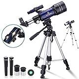 BNISE Telescope for Kids Beginners, 70mm Aperture Astronomy Refractor Monocular Telescopes, with Adjustable