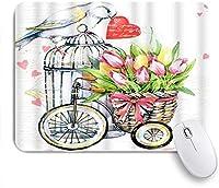 NIESIKKLAマウスパッド 鳥の花春心水彩動物自然かわいい花束バレンタイン愛 ゲーミング オフィス最適 高級感 おしゃれ 防水 耐久性が良い 滑り止めゴム底 ゲーミングなど適用 用ノートブックコンピュータマウスマット