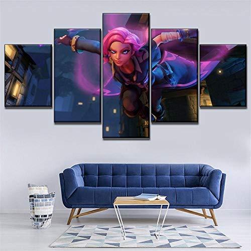 SSOOB Home Art lienzo pared arte impresiones mural Fantasía hermosa chica anime 100x50 CM Pinturas en Lienzo Impresión en Lienzo Impresión en Lienzo 5 Piezas Pictures Decoración para el hogar Arte de