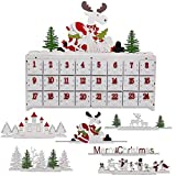 SAND MINE Countdown to Christmas Wooden DIY Advent Calendar with Three Changeable Top Decoration
