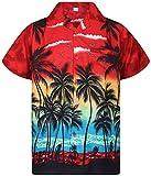 V.H.O., camicia hawaiana eccentrica, da uomo, a maniche corte, con taschino frontale, stampa hawaiana, palme e mare Beach rosso M