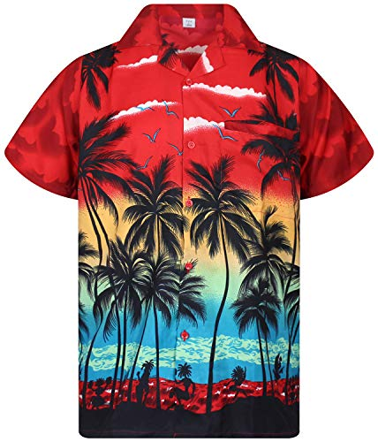 V.H.O. Funky Hawaiihemd, Kurzarm, Beach, rot, M