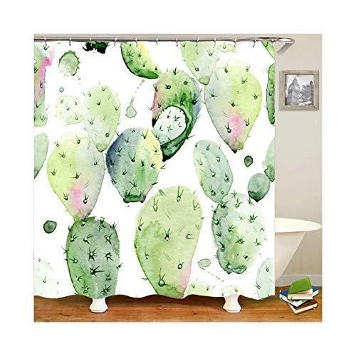 Daesar 3D Anti Schimmel Duschvorhang 180x200 cm Kaktus Duschvorhang Waschbar aus Polyester-Stoff