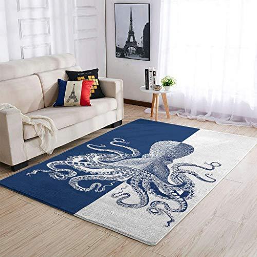 WOSITON Alfombra azul de Octopo estilo europeo para sala de estar, 50 x 80 cm, color blanco