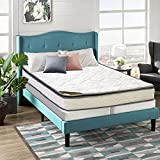 Spring Coil 9-Inch Foam Encased Pillowtop Pocketed Coil Innerspring Mattress And 4' Wood Split Low Profile Box Spring/Foundation Set, Full, Grey