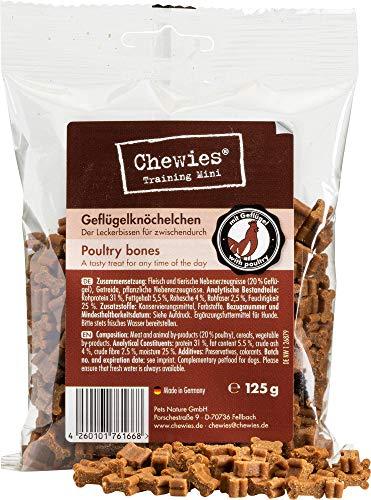Chewies Hundeleckerli Geflügel Knöchelchen - 4 x 125 g - Trainingsleckerli für Hunde - Fleisch Softies ohne Zucker - Hundesnack mit hohem Fleischanteil (500 g)