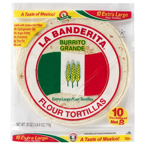 La Banderita Burrito   10' Flour Tortillas   10 Count 25oz.  4 Pack Case.