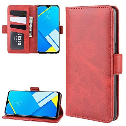 LISUONG MZYM AYDD - Funda de piel con hebilla magnética de doble cara para OPPO A1k / Realme C2 con tarjetero, ranuras para tarjetas y cartera (color rojo)