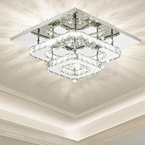 Plafoniera in cristallo, luci moderne, lampadario a soffitto a LED in cristallo quadrato per sala da pranzo, soggiorno, camera da letto (36W / 3000-6500K)
