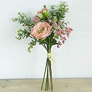 Artificial and Dried Flower Peony Artificial Flowers Wedding Flower Gypsophila Hybrid Bouquet for Wedding Home Party Decoration Silk Fake Flowers