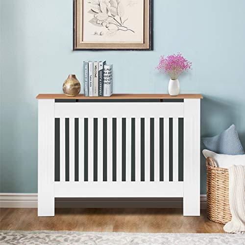TUKAILAI Modern Radiator Cover Cabinet MDF Cabinet Home Furniture Radiator Protection Vertical Slat Cabinet Radiator Wood color Shelve for Living Room/Bedroom/Kitchen White Medium