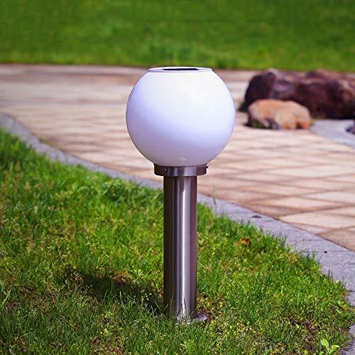 Pumnple Columna de acero inoxidable solar del césped Light Lámpara de mesa bola brillante LED al aire libre pared redondo Luz Villa Terraza Gazebo Light Path Decoración Paisaje Comunidad Publicar lint