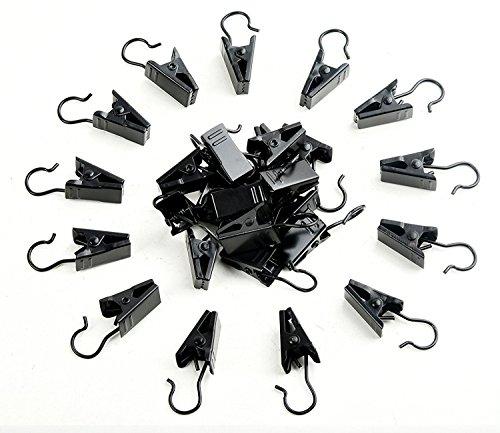 120 stuks gordijnclips, roestvrij staal, klem, haken, gordijnhaken, metaal, met clip, gordijnen, haken voor douchegordijn, klemmen, foto's, decoratie thuis, zwart