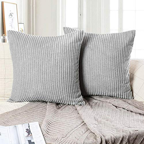 Hangood Stripe Cushion Covers 18x18 Soft Corduroy Throw Pillow Covers 45cm x 45cm Set of 2pcs Solid Grey
