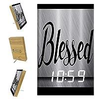 寝室用デジタル目覚まし時計キッチンオフィス3アラーム設定ラジオウッドデスククロック-言葉に恵まれた